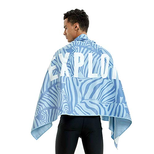 ABLUD blauwe zebra hand getekend kleurrijke sublimatie afdrukken microvezel strand handdoek, zwemmen handdoek, reishanddoek outdoor deken