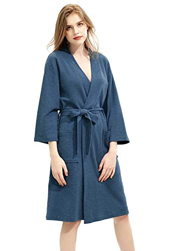 ZAKASA Mujer Kimono Batas Color Puro de Waffle Albornoz para