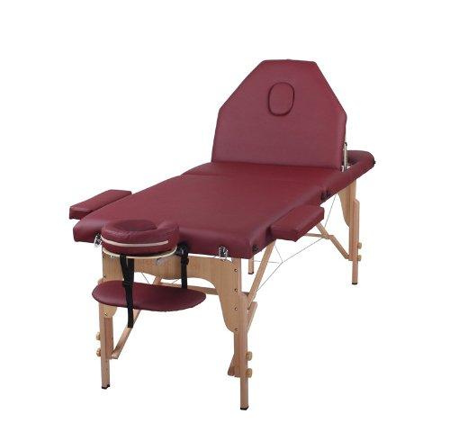The Best Massage Table 3 Fold Burgundy Reiki Portable Massage Table -...