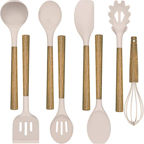 Silicone Cooking Utensil Set,Umite Chef 8-Piece Kitchen Utensils Set with Natural Acacia Wooden Handles, Silicone Heads-Silicone Kitchen Gadgets and Spatula Set for Nonstick Cookware - Khaki