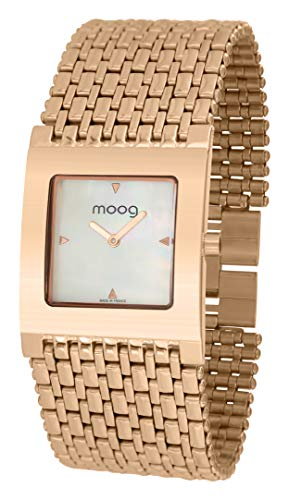 Moog Paris Luxury Orologio da Donna con Quadrante Madreperla Bianco, Cinturino Oro Rosa in Acciaio inossidabile - M46058-006