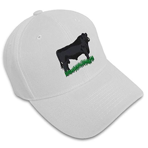 Baseball Cap Angus Bull Embroidery Animals Farm & Domesticated Acrylic Hats for Men Women Strap Closure White Design Only
