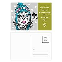 猫の頭の雪猫の味を保護する動物ペット 詩のポストカードセットサンクスカード郵送側20個