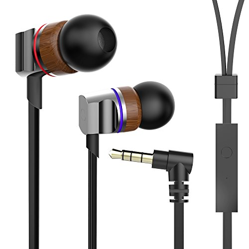 Wood in-Ear Earphones Earbuds with Zipper Wood Metal Earbuds Headset with Mic in-Ear Wood Headphone Noise-isolating Zipper Wired Headphone with 3.5mm