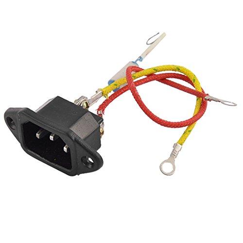 Aexit Electrische Zubehör Kocher 250V 10A 3 Terminal Einlass Strom Netzkabel, Verteiler & Adapter Socket Schwarz