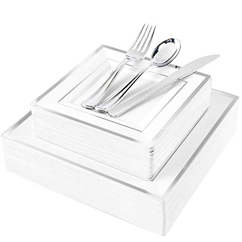 WDF 125pcs Silver Plastic Plates with Disposable Plastic Silverware-Silver Rim Square Plastic Dinnerware include 25 Dinner Plates,25 Salad Plates,25 Forks, 25 Knives, 25 Spoons