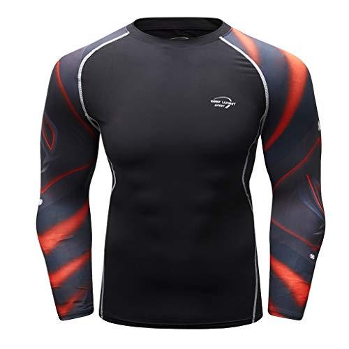 Herren Kompressions-Shirt langärmlig Funktionsshirts Fitness Baselayer Langarm Sport Longsleeve Shirt Top Bluse Slim Fit,17style - 2