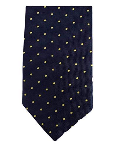 Knightsbridge Neckwear Navy/Yellow Kensington Spots Silk cravate de