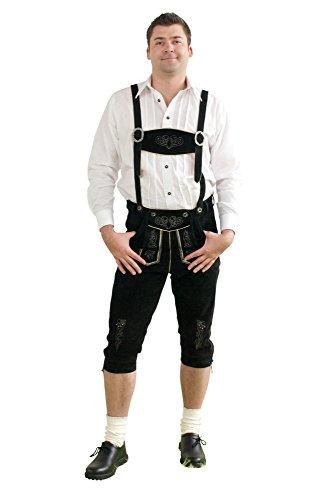 Herren Trachten Kniebundhose schwarz aus feinstem Rindsveloursleder Gr. 44-76