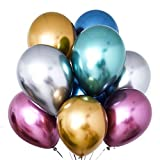XGzhsa Globos de Fiesta Metalizados, Globos de látex Helio, Paquete de 50 Piezas Globos Decorativos metálicos para Fiesta Cumpleaños Aniversario Boda Graduación Navidad Año Mezcla