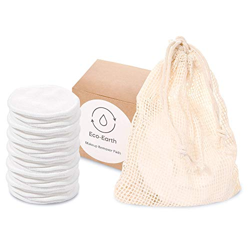 Eco-Earth Organic Reusable Makeup Remover Pads, Washable Natural Bamboo Cotton Rounds, Soft & Eco-friendly Toner Pads for eyes and face- 16 Pack with Cotton Laundry Bag