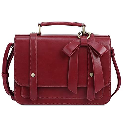 ECOSUSI Umhängetasche Damen Handtasche Kleine Schultertasche mit Abnehmbarer Schleife Crossbody Tasche Damen Rot