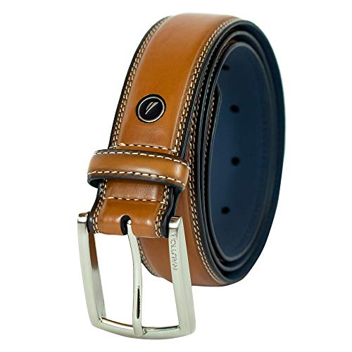 Nautica Men's Belt with Dress Buckle and Stitch Comfort,cognac, 30