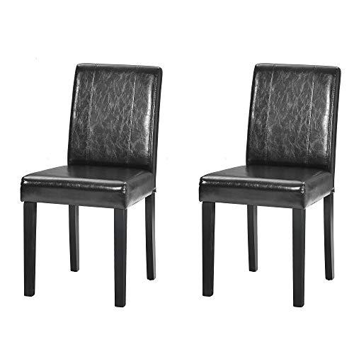 Q-HL Silla de comedor Vintage Sillas de comedor Sillones de piel sintética Sillas de acento para sala de estar, dormitorio, cocina con patas de madera maciza, color negro