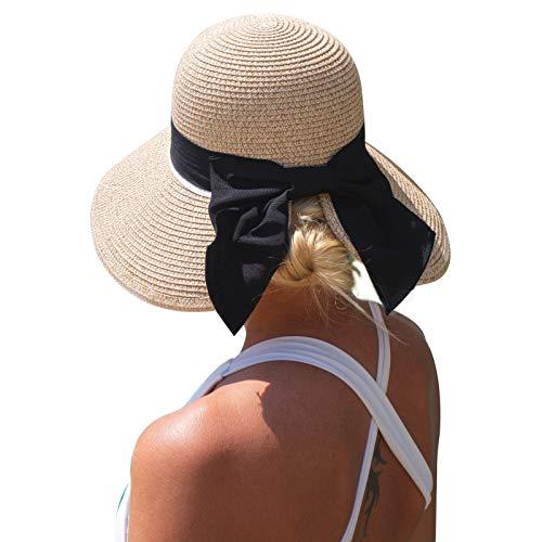 Women Summer Straw Sun Hat UPF Ladies Beach Accessories Fashions Hats Fedora Wide Brim Packable Beige Small S
