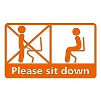 座りションステッカー【カッティングステッカー】 立たないでジョ~!!座って トイレステッカー 立ちション禁止(CUT/オレンジ)