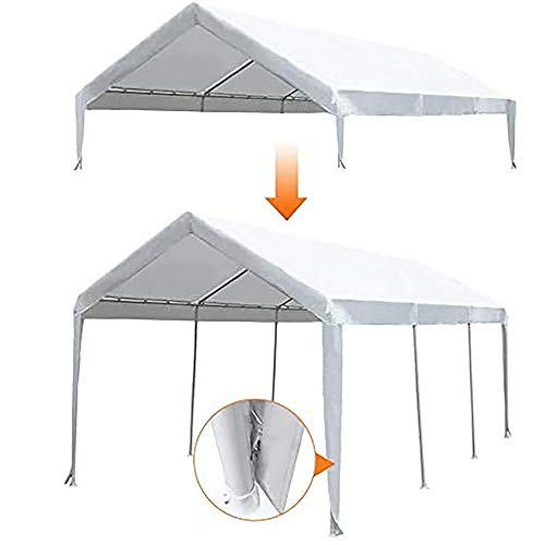Abba Patio 10 x 20-Feet Carport Replacement Top Canopy Cover for Garage Shelter with Fabric Pole Skirts and Ball Bungees, White (Frame Not Included)