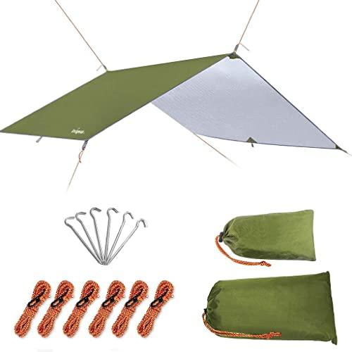 Unigear Plandeka namiotowa, plandeka na hamak, wodoszczelna, z oczkami + 6 śledziami + 6 linami, ochrona przed deszczem, ochrona przed słońcem, na kemping