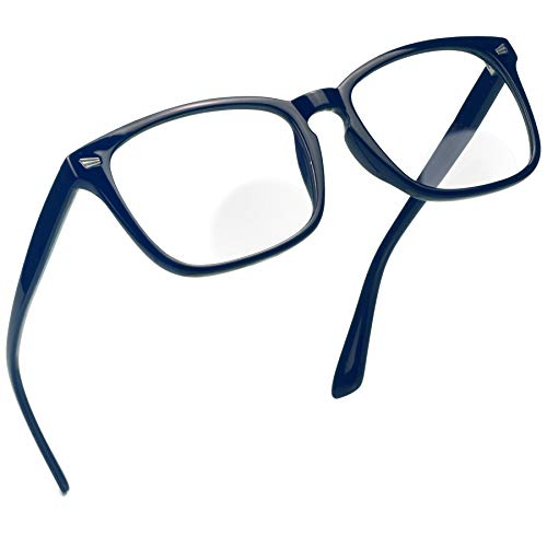 Bifocal Reading Glasses with Clear Lenses, Blue Light Blocking Glasses for Women and Men, Anti Glare, Reduce Eyestrain (Navy, 0.00/+2.00 Magnification)