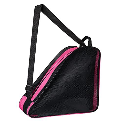 MXiiXM Roller Skate Bag, Breathable Ice Skate Bags with Adjustable Shoulder Strap, Oxford Cloth Skating Shoes Storage Bag for Women Men Kid and Adults Roller Skate Accessories (Pink)
