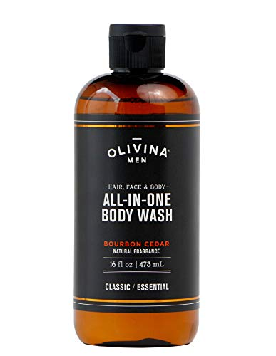 Olivina Men Hair, Face & Body All-in-One Wash, Bourbon Cedar, 16 Fluid Ounce