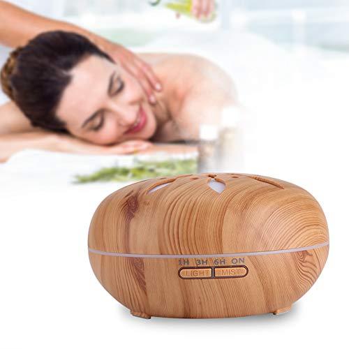 Ultrasone luchtbevochtiger, 550ML 7 kleuren LED ultrasoon aroma etherische olieverspreider met afstandsbediening (houtkleur)