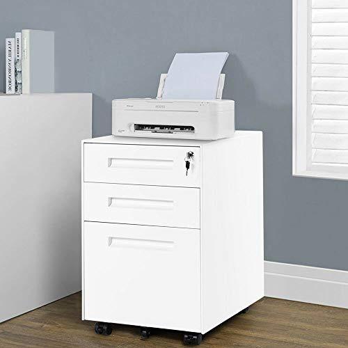 WGYDREAM Cajonera Oficina con Ruedas Gabinete De Archivo Móvil Blanco Gabinete De Almacenamiento Blanco 3 Cajón Acero Metal Archivado Mueble Pedido Pedido Gabinete