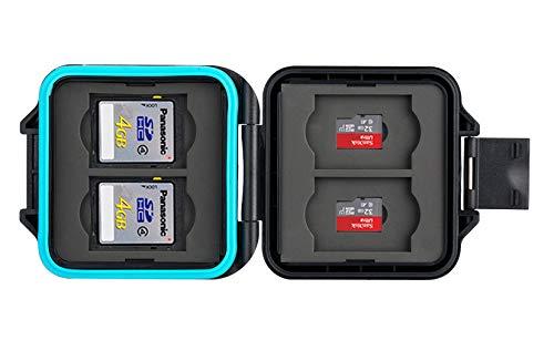 Funda protectora para tarjeta de memoria • Funda para tarjeta de memoria • Tarjeta segura • Funda para 4 tarjetas SD y 4 x Micro SD y tarjetas Sim • Incluye cable de transporte y aguja sim