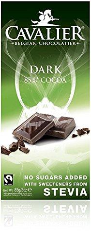 Cavalier Zartbitter-Schokolade mit Steviolglykosiden aus Stevia, 4er Pack (4 x 85 g)