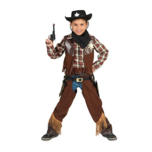 Kostümplanet® Cowboy Kostüm Kinder Karneval braun 128