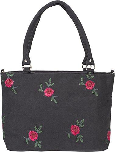 Küstenluder Damen Tasche Erla Vintage Rosen Shopper Schwarz