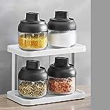 Coperchio per cucchiaio scatola per condimento integrata da cucina set per la miscelazione del contenitore per la cottura dello scuotitore di sale da cucina, 4 vasche per condimento + griglia