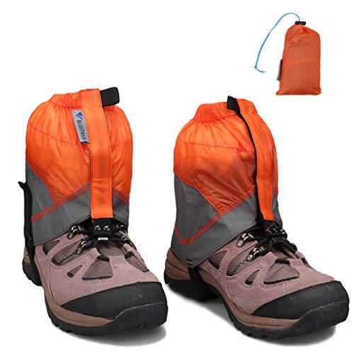 MAGARROW Outdoor Gamaschen wasserdichte Gaiter Leichte Adult Snow Gaiter Leg Gaiters Überschuh für Wandern Klettern Walking Men Women (Orange)