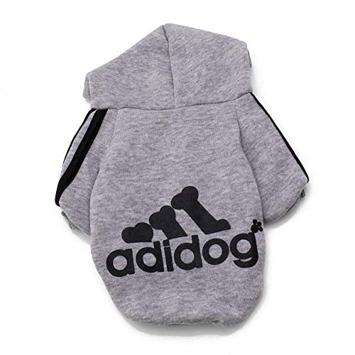 Rdc Pet Adidog Dog Hoodies, Apparel, Fleece Basic Hoodie Sweater, Cotton Jacket Sweat Shirt Coat for Small Dog & Medium Dog & Cat (Grey,XL)