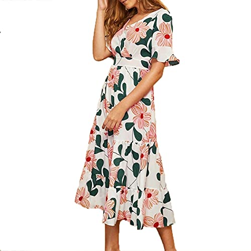 XYJD Spring and Summer Women's Casual Loose Chiffon Big Flower V-Neck Waist Slimming Flared Sleeves Big Swing Dress Female White