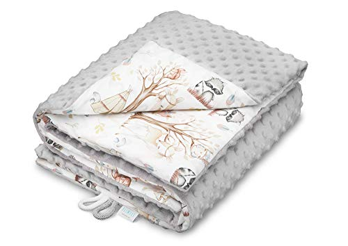 EliMeli BABYDECKE Kuscheldecke Krabbeldecke Premium Babybettwäsche Baumwolle super weichem Minky Polar Fleece Füllung 75x100 beste Qualität Öko-Tex-Zertifikat Made in EUROPE (Grey - Forest Friends)