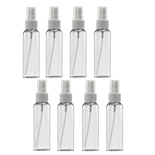 8 PCS * 60 ml Botes Spray Transparente Plástico Botella Vacía de Spray, Set Sprays Recargables para Gel Désinfectante, Perfume, Loción de Maquillaje, Vacaciones, Viajes de Negocios, Limpieza, 8 Piezas