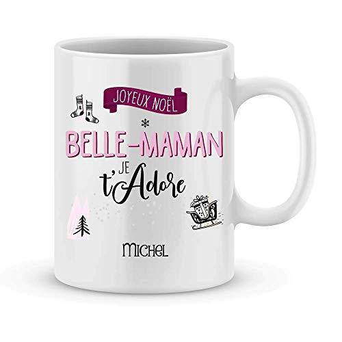 Mug JOYEUX NOËL BELLE MAMAN à personnaliser avec prénom de votre