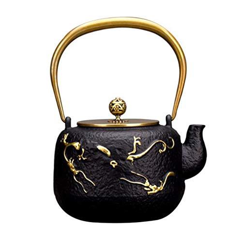 Tea Pot, Small Retro Tea Kettle, Cast Iron Black Heat Resistant Healthy Tea Maker, for Home Restaurant Office Party, 1200 ml