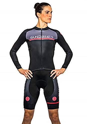 Sundried Lange Hülse der Frauen-Zyklus Jersey Fahrradbekleidung Bekleidung für Rennrad und MTB (schwarz, L)