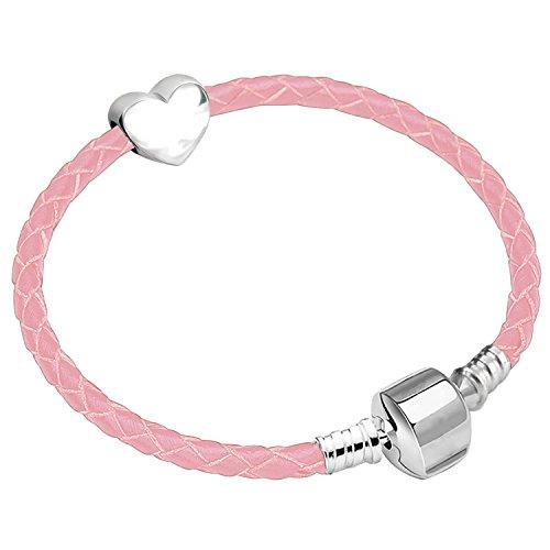 Charm Buddy 23cm Womens XX Large Leather Starter Charm Bracelet with Silver...