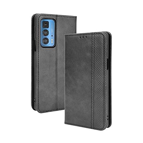 RonRun Hülle für Motorola Edge 20 Pro Flip PU Leder Magnet Handyhülle mit Kartenfächern Brieftasche Standfuntion stoßfeste Silikonhülle Kompatible für Motorola Edge 20 Pro schwarz