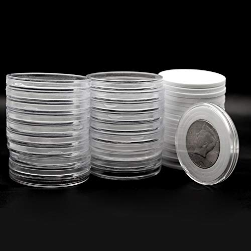 20 Pcs Clear Plastic Coin Capsules, Coin Collection Case of 5 Size with Adjustable Gasket for Coin Collection American Silver Eagle Liberty Coin &JFK Half Dollar   20/25/30/35/40mm