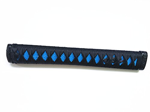 Japanese Samurai Sword Fittings Katana Handle 26 cm / 10.2'' Tsuka Silk Ito KF Menuki (Black Blue Skin Imitation Fish Skin, 26CM tsuka)