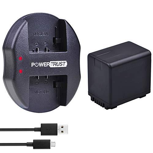 PowerTrust VW-VBT380 VWVBT380 VW-VBT380 VW-VBT190 VBT190 - Batería y cargador doble USB para baterías Panasonic HC-V110, HC-V130, HC-V160, HC-V180, HC-V201, HC-V250,HC-V260,V720 V750 V770 V777