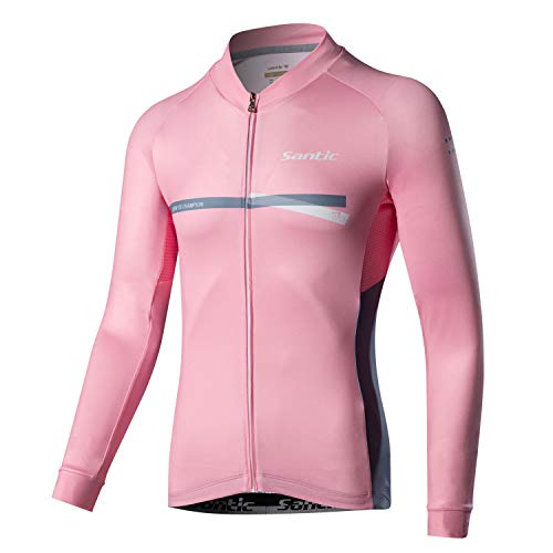 Santic Cycling Jersey Men's Long Sleeve Tops Mountain Bike Shirts Bicycle Jacket with Pockets Pink S