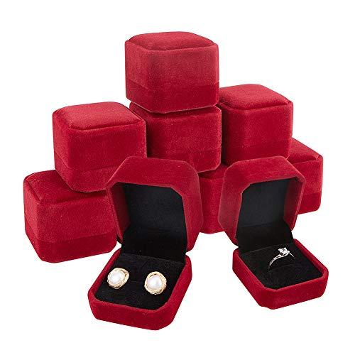 BENECREAT 10 Pack Caja de Anillo Roja Oscura Caja de Regalo de Terciopelo Envase Superior de Joyería para Muestra, Compromiso, Boda 54.5x49.5x41.5mm