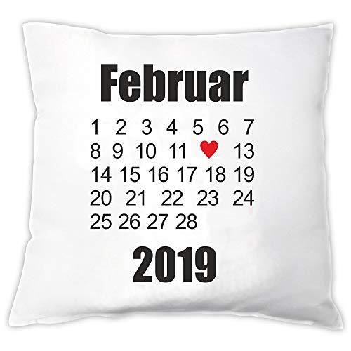 4you Design Weißes Kissen mit beliebigem Datum Hochzeitstag, Kennenlerntag usw. - Geschenk für Verliebte - Geschenk für Paare - Valentinstag - Hochzeitstag - Kennlerntag