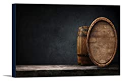 Beer Barrels on a Wooden Table with a Dark Background 9013454 (36x15 1/2 Gallery Wrapped Stretched Canvas) 36 x 15 1/2 Gallery Canvas Printed in the USA! Ready to hang! Perfect for your home, office, or a gift Browse thousands of images available, cl...