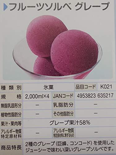 ロッテアイス フルーツ ソルベ グレープ シャーベット 2L×4P 冷凍 業務用 氷菓